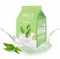 Тканевая маска с экстрактом зеленого чая и молоком A'PIEU Green Tea Milk One-Pack