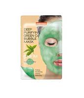 Тканевая кислородная маска с экстрактом зеленого чая PUREDERM Deep Purifying Green O2 Bubble Mask Green Tea 25g