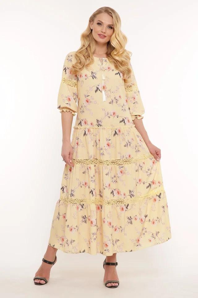 Красивое летнее платье в пол Анна 3 цвета (52-58)