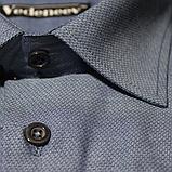 Мужская рубашка голубого цвета из фактурной ткани, фото 2