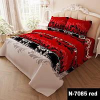 Комплект постельного белья Завитки двуспальный 7085-red