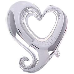"Фол шар фигура 32"" (85 см) Сердце Металлик Серебро ВЕНЗЕЛЬ (ФМ)"