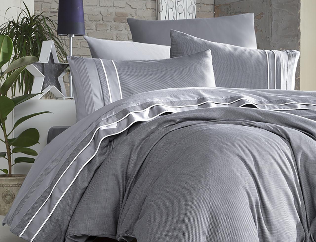 Шикарный Комплект постельного белья евро Moonlight V.I.P Imaj Gri Турция бренд First Choice