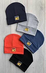 Трикотажная шапка на подкладке х/б р46-48 упаковка 5шт