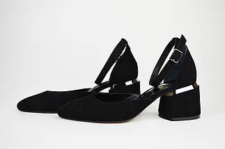 Туфлі відкриті Lirio 0118 Чорні замш-велюр, фото 3