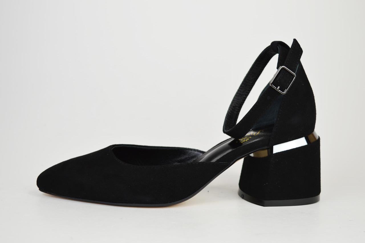Туфлі відкриті Lirio 0118 Чорні замш-велюр