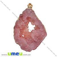 Подвеска из натурального камня, Друза агата, Розовая, 56х35 мм, 1 шт (POD-033872)