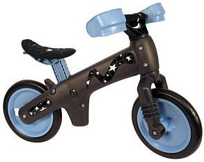 """Беговел 12"""" Bellelli B-Bip обучающий 2-5лет, пластмассовый, чёрный с синими колёсами"""