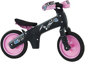 """Беговел 12"""" Bellelli B-Bip обучающий 2-5лет, пластмассовый, чёрный с розовыми колёсами"""