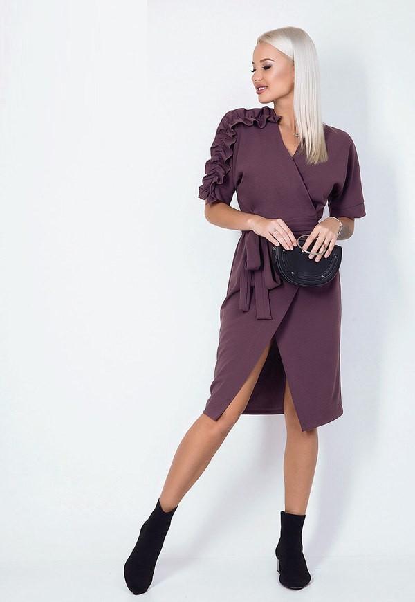 Ультрамодное яркое платье на запах 54771 (42–58р) в расцветках