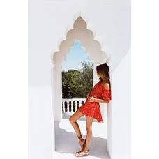 Красное короткое платье коттон 405-31, фото 2