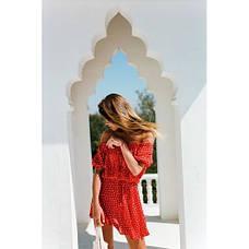 Красное короткое платье коттон 405-31, фото 3