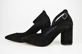 Туфли со съемным ремешком Nivelle 1990 Черные замша, фото 2