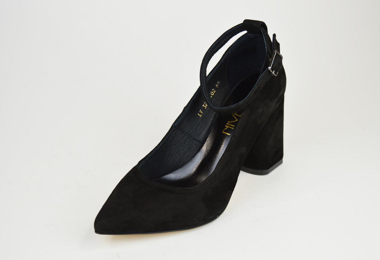 Туфли со съемным ремешком Nivelle 1990 Черные замша
