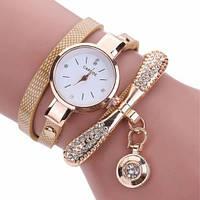 Женские наручные часы-браслет со стразами  Fusion Luxury Gold, фото 1
