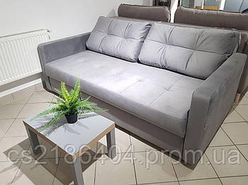 """Прямий розкладний  диван у тканині сірий велюр  """"Колібрі"""""""