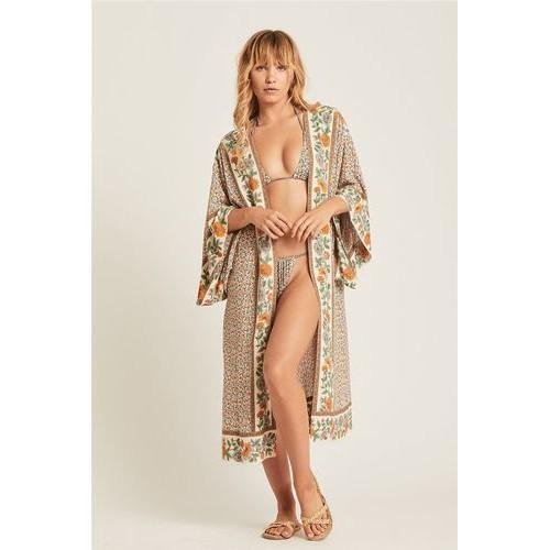 Пляжный халат в цветочки Туника бохо- мелкие цветочки широкий пляжный халат 405-10
