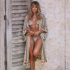 Пляжный халат в цветочки Туника бохо- мелкие цветочки широкий пляжный халат 405-10, фото 3