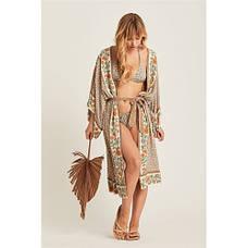 Пляжный халат в цветочки Туника бохо- мелкие цветочки широкий пляжный халат 405-10, фото 2
