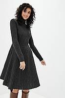 Красивое темно-серое зимнее женское платья-клеш с шерстью, размер 46-48