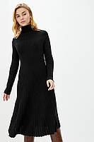 Красивое черное зимнее женское платья-клеш с шерстью, размер 42-44
