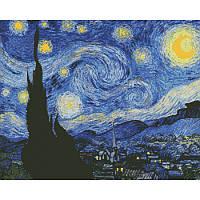 """Алмазная вышивка на холсте с подрамником, Абстракция """"Звездная ночь"""" Винсент Ван Гог 40*50 см, фото 1"""