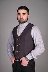 Мужской жилет для официанта и бармена темно-серого цвета