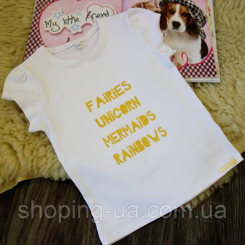 Детская футболка белая с золотой надписью Five Stars KD0306-122p