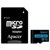 Карта памяти Apacer 64GB microSDHC class 10 UHS-I U3 V30 (AP64GMCSX10U7-R)