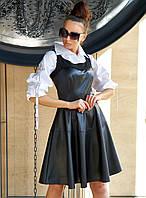 Расклешенное кожаное женское черное платье (Френсия jd)