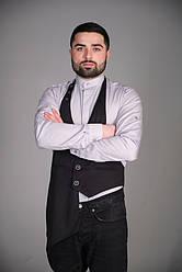 Мужской жилет для официанта и бармена черного цвета