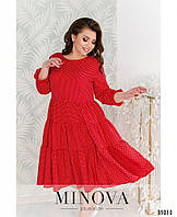 Женское свободное платье в горошек больших размеров 50-64