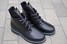 Ботинки женские кожаные черные 133126