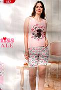 Пижама женская майка и шорты хлопок