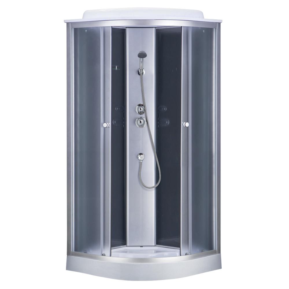 Душевая кабина Sansa 6690A/15, 90 х 90 см, профиль сатин, стекло серое, заднее стекло черное
