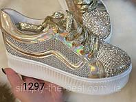 Золоті кросівки жіночі літні,з камнями, фото 1