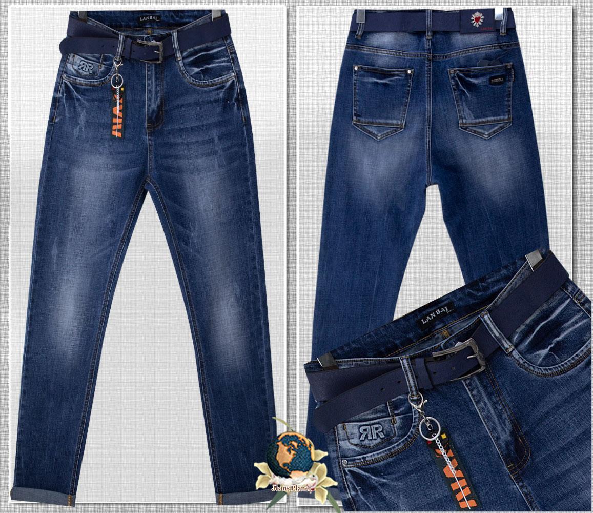 Модные женские джинсы баталы на высокой талии с ремнём и брелком 32 размер