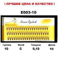 Ресницы Nesura Eyelash 10D, 10 мм, изгиб С, 0,10, 60 пучков Несура пучки ресниц
