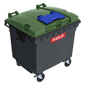Sulo пластиковий сміттєвий контейнер, кришка в кришці для збору вторсировини 1,1 м3.