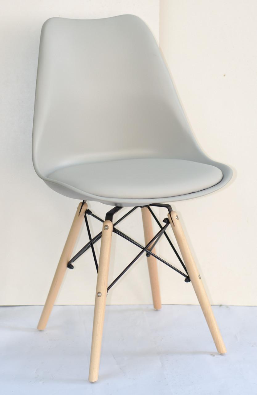 Стул пластик Milan В (Милан) светло-серый 10 с мягкой сидушкой
