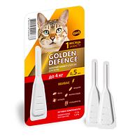 Капли на холку Golden Defence от паразитов для кошек весом до 4 кг 0,5 мл