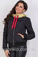 Куртка женская осенне-зимняя короткая плащевка на синтепоне капюшон ЗОЛОТО Остался 52 размер.
