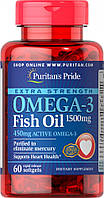 Рыбий жир, Омега Puritans Pride Omega-3 Extra Strength 1500mg, 60 softgels, фото 1