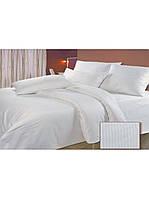 Полуторный комплект постельного белья из бязи  белое  в полоску как страйп-сатин  150х220 см (12345)