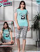 Пижама женская футболка и капри хлопок разные цвета т.м Коттон Море Турция № 49807