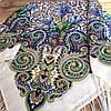 Красивый павлопосадский платок (120х120 см,  темно-синий, 80%-шерсть)