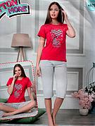 Пижама женская футболка и капри хлопок разные цвета т.м Коттон Море Турция № 49796