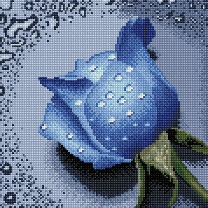 DF-063 Роза синяя. Набор алмазной мозаики (30 х 30)