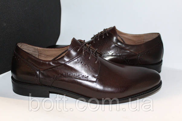 Туфли мужские весенние кожаные коричневые, фото 3