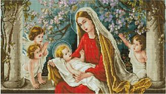"""Набір алмазної мозаїки """"Діва Марія з Ісусом в яблуневому саду"""" (40 х 70)"""